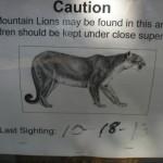 Mountain Lion Warning on Trail